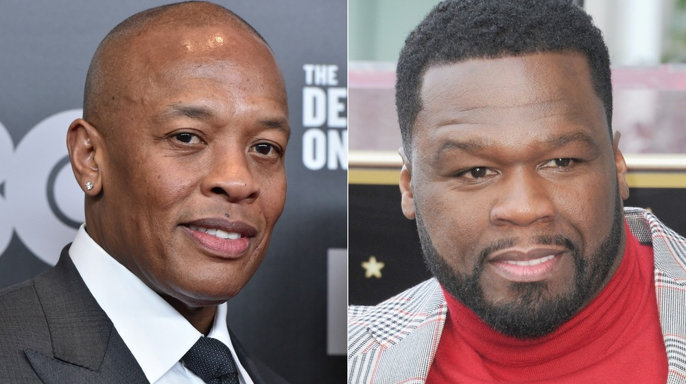 Dr. Dre and 50 Cent smile for photos