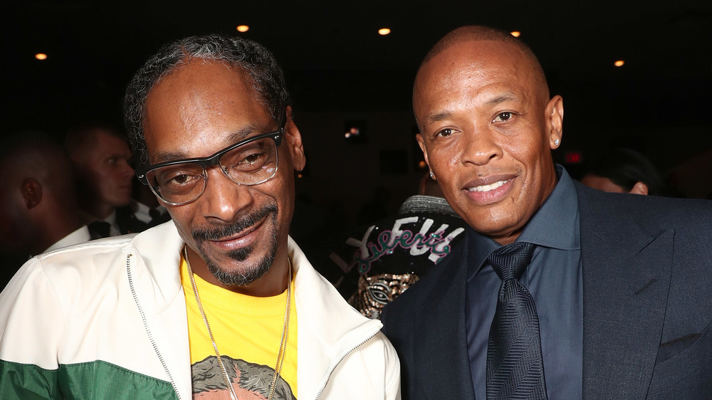 Snoop Dogg and Dr. Dre smiling together