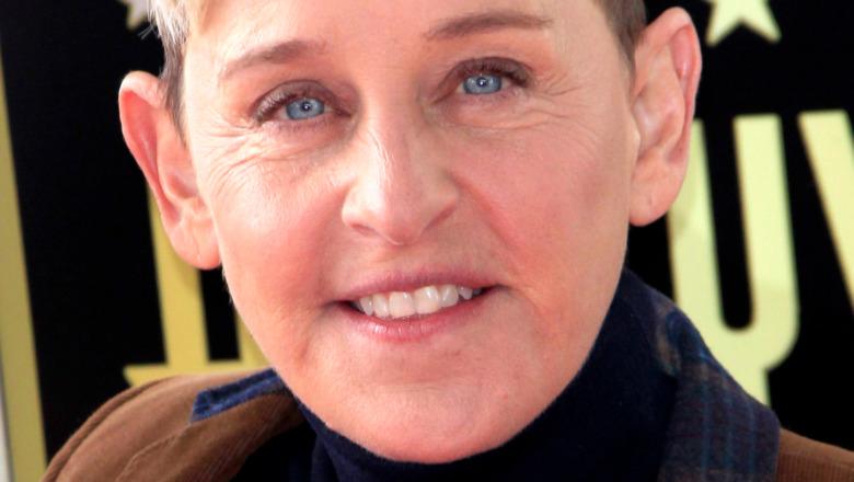Ellen DeGeneres with a neutral expression