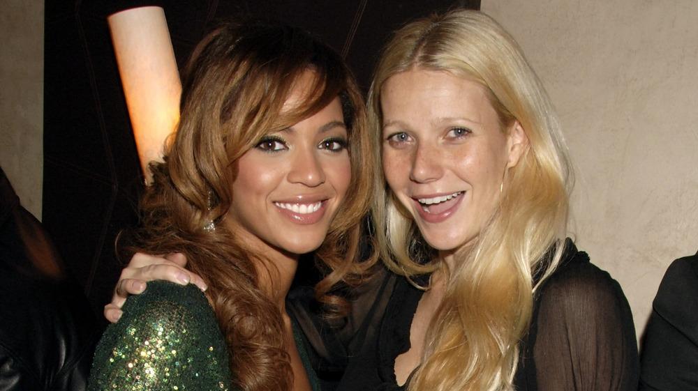 Beyonce and Gwyneth Paltrow embracing