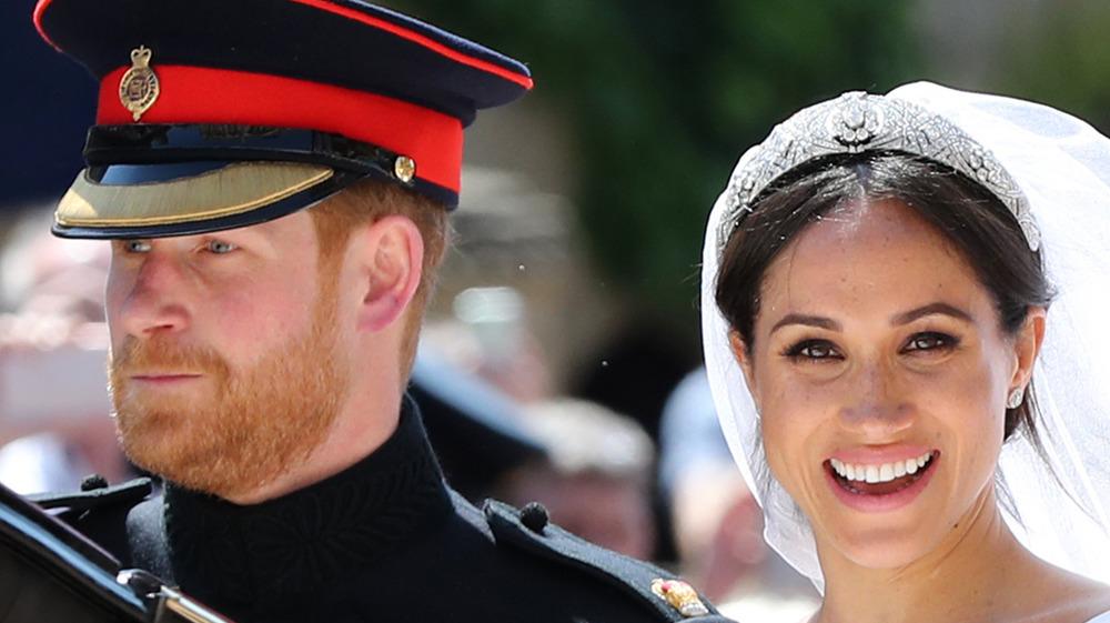 Prince Harry and Meghan Markle at their royal wedding