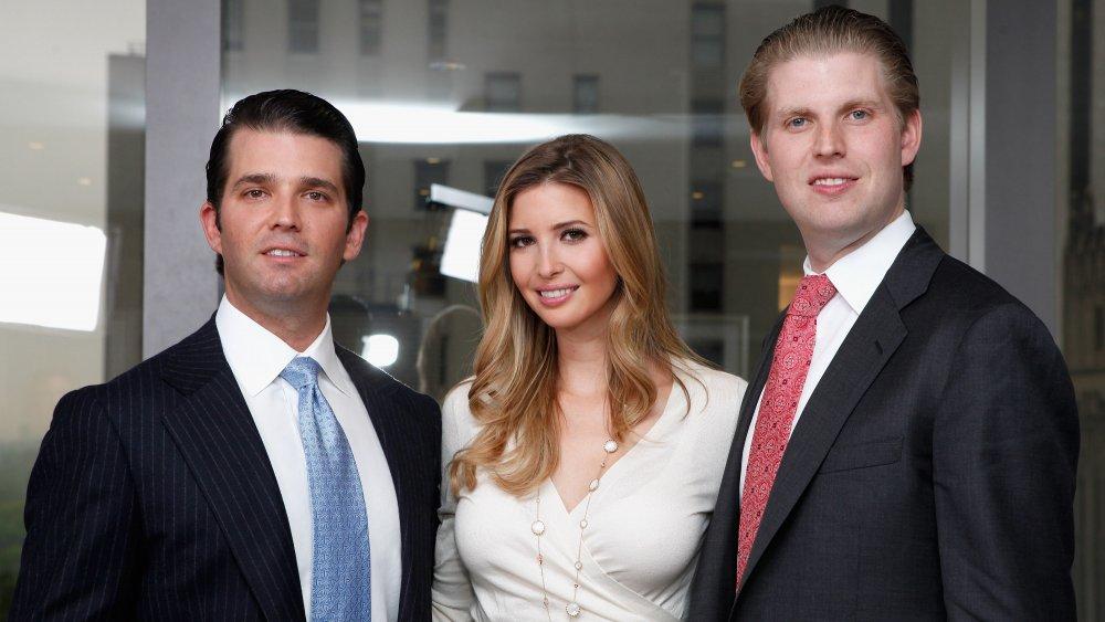 Donald Trump Jr., Ivanka Trump and Eric Trump all posing for photo