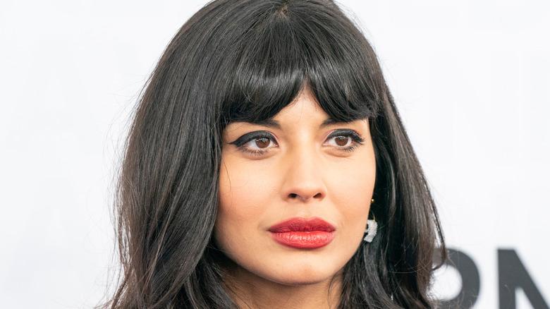 Jameela Jamil posing at an event