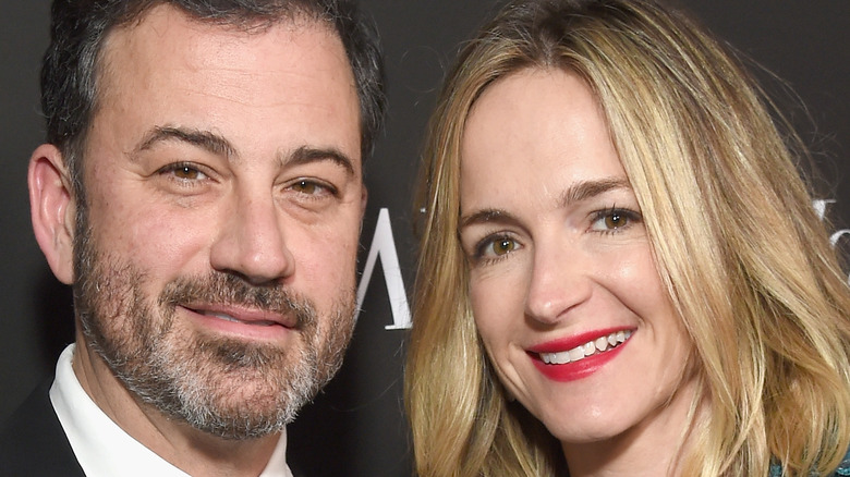 Jimmy Kimmel and Molly McNearney smiling