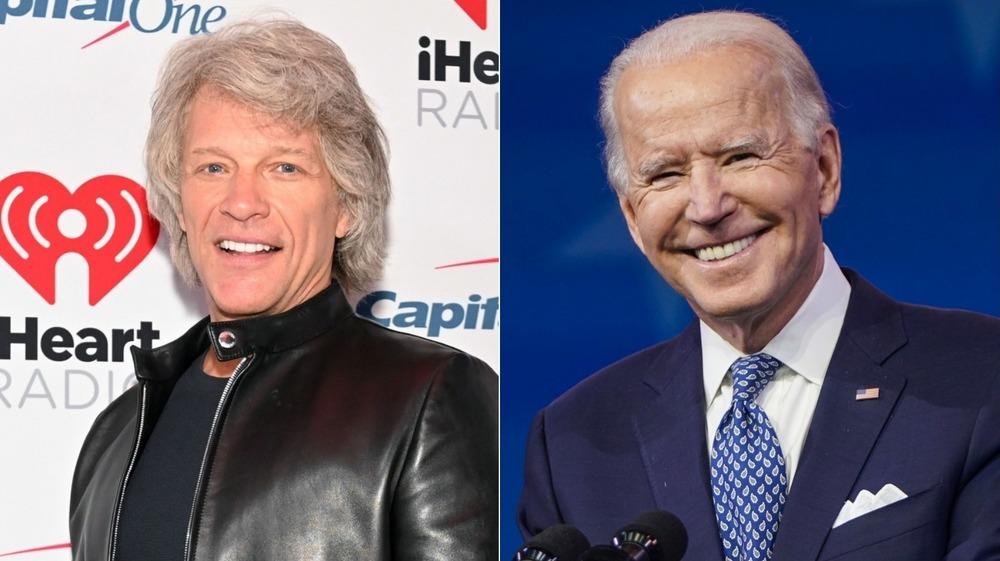 Joe Biden and Jon Bon Jovi smiling in a split image