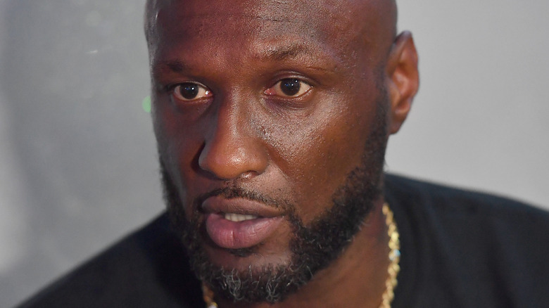 Lamar Odom at a press conference