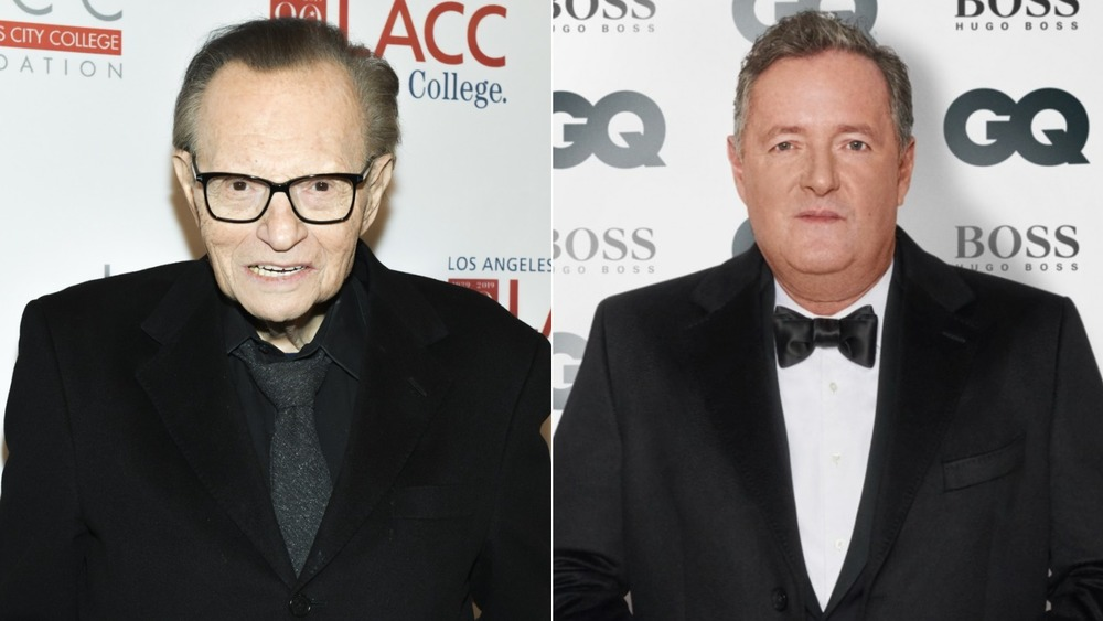 Larry King and Piers Morgan split image