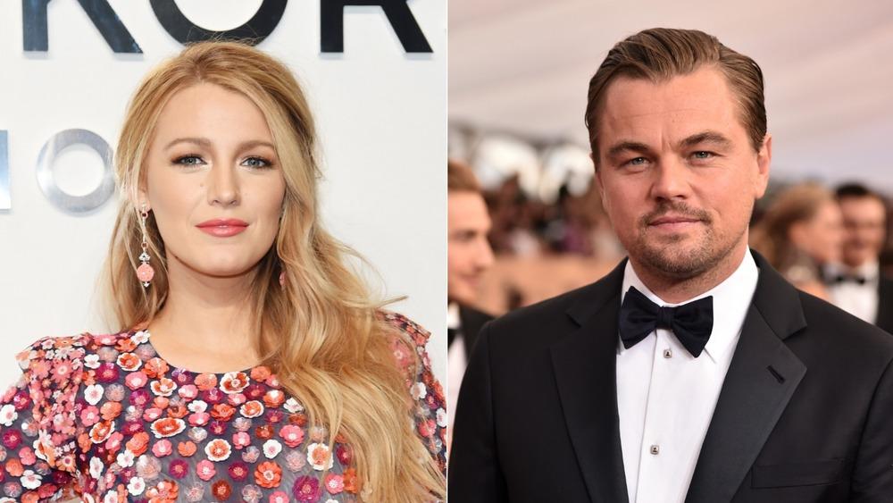 Blake Lively & Leonardo DiCaprio posing on the red carpet