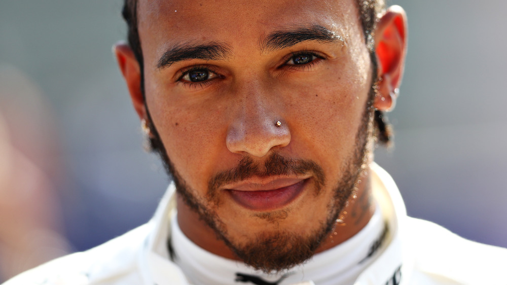 Lewis Hamilton with neutral expression