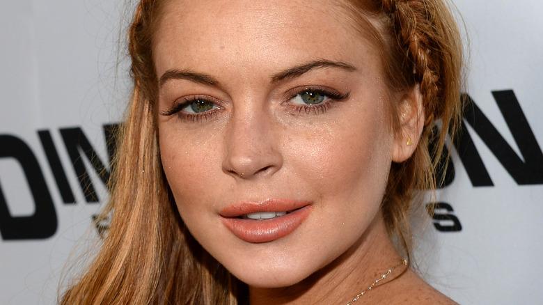 Lindsay Lohan poses with braided hair.
