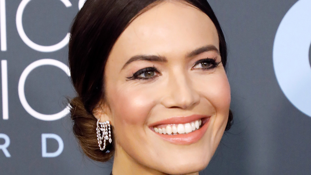 Mandy Moore smiling with updo