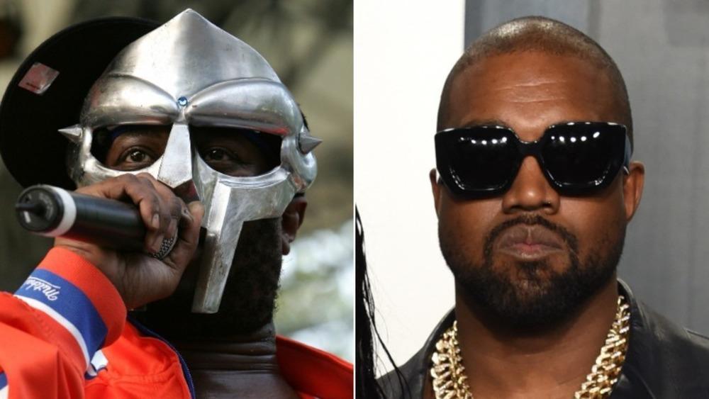 MF DOOM performing and Kanye West posing