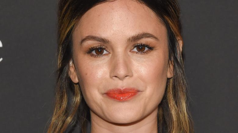 Rachel Bilson wearing red lip gloss