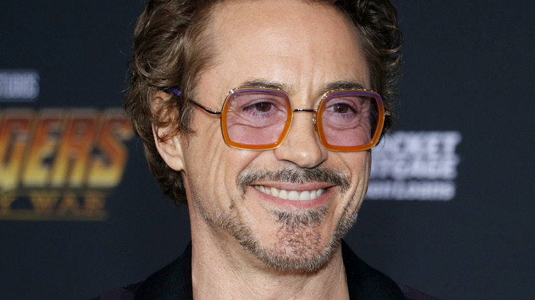 Smiling Robert Downey, Jr at the premiere of Disney and Marvel's 'Avengers: Infinity War' in 2018.