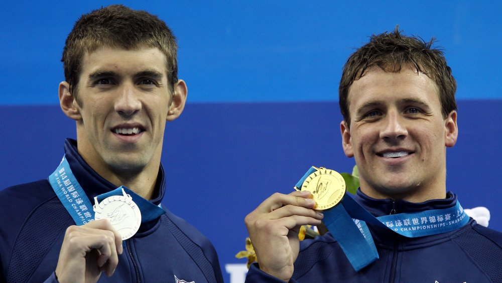 Michael Phelps and Ryan Lochte at the medal ceremony for the 14th FINA World Championships