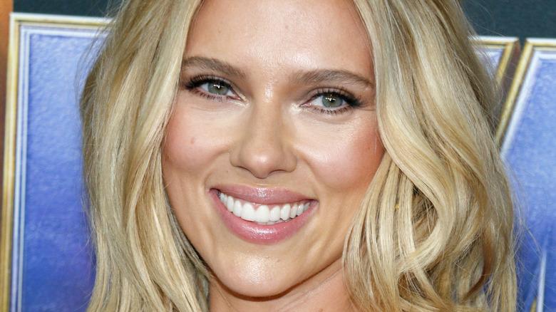 Smiling Scarlett Johansson at the premiere of 'Avengers: Endgame'