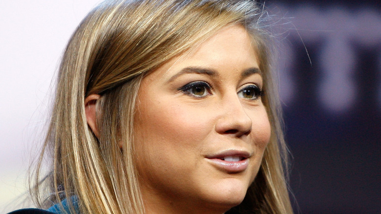 Shawn Johnson speaks during nike event