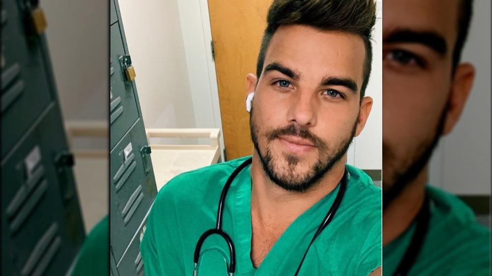 Noah Erb in his scrubs in 2020