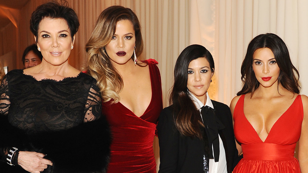 Kris Jenner, Khloe Kardashian, Kourtney Kardashian, and Kim Kardashian posing together