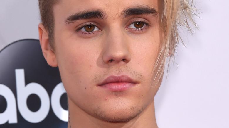 Justin Bieber with pensive stare