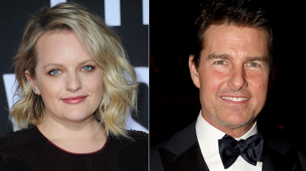 Elisabeth Moss, smiling, dressed up at premier; Tom Cruise, smiling, in a tux, with a black background
