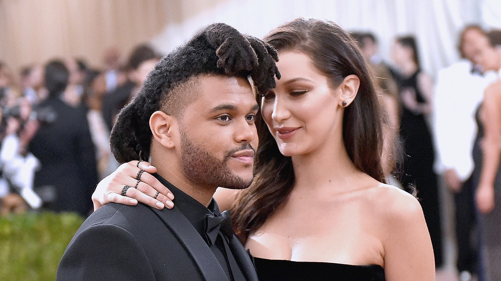 The Weeknd and Bella Hadid attend the 2016 Met Gala