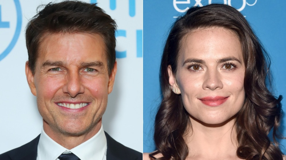 Tom Cruise and Hayley Atwell smiling