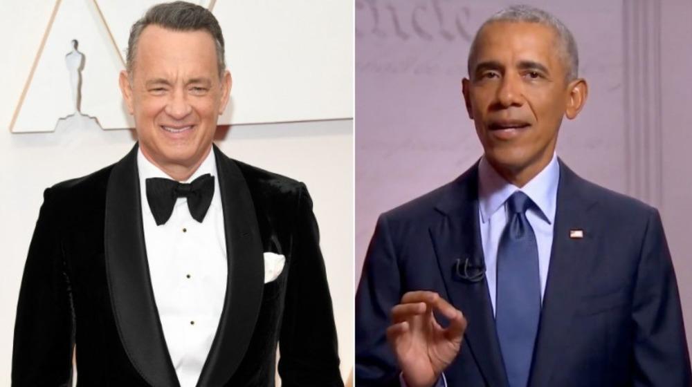 Tom Hanks and Barack Obama smiling