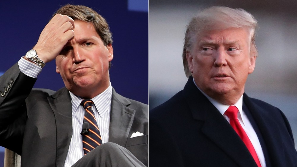Tucker Carlson and Donald Trump split image