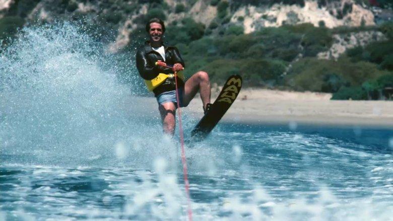 Fonzie waterskiing