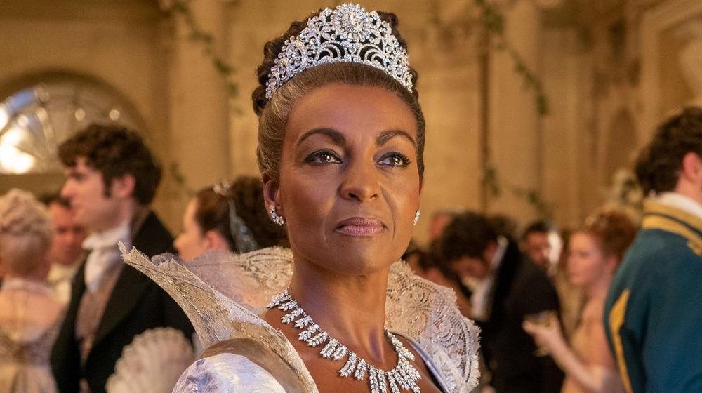 Adjoa Andoh as Lady Danbury wearing a crown in Bridgerton