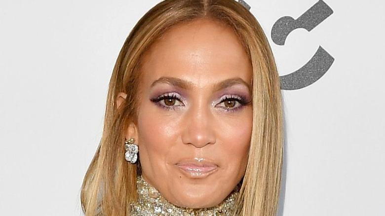 Jennifer Lopez smiles on a 2020 red carpet