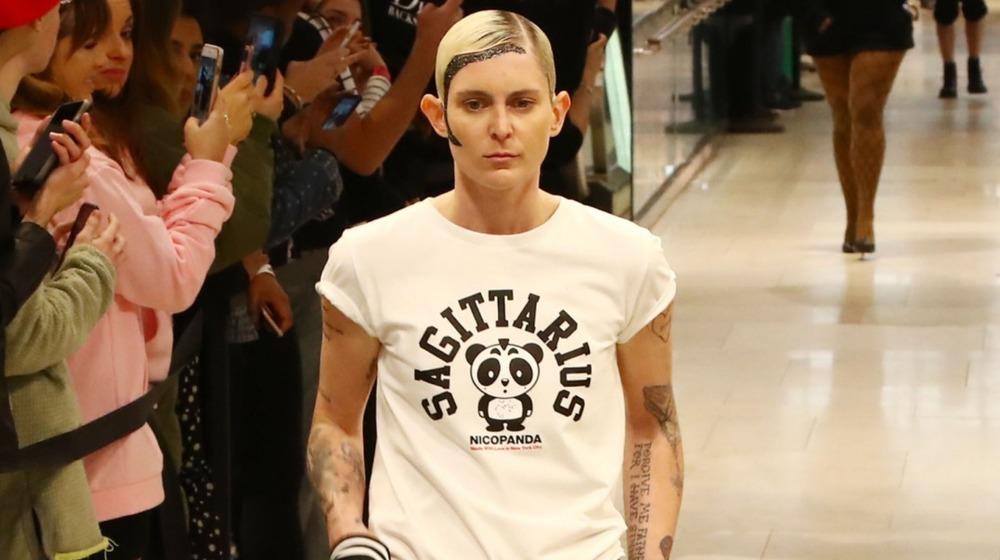Model Nats Getty walks the runway during the MAC Nicopanda Macy's Herald Square