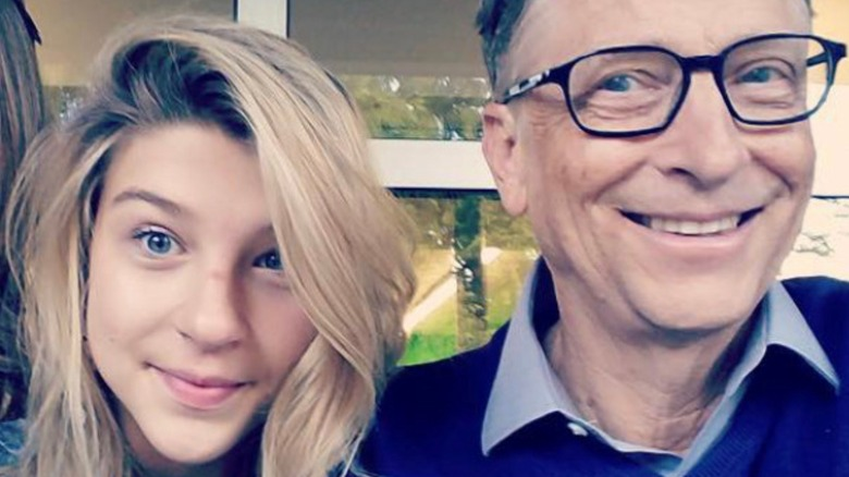 Phoebe Gates posing with father Bill Gates