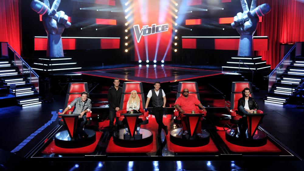 Blake Shelton, Carson Daly, Christina Aguilera, Mark Burnett, Cee Lo Green, Adam Levine