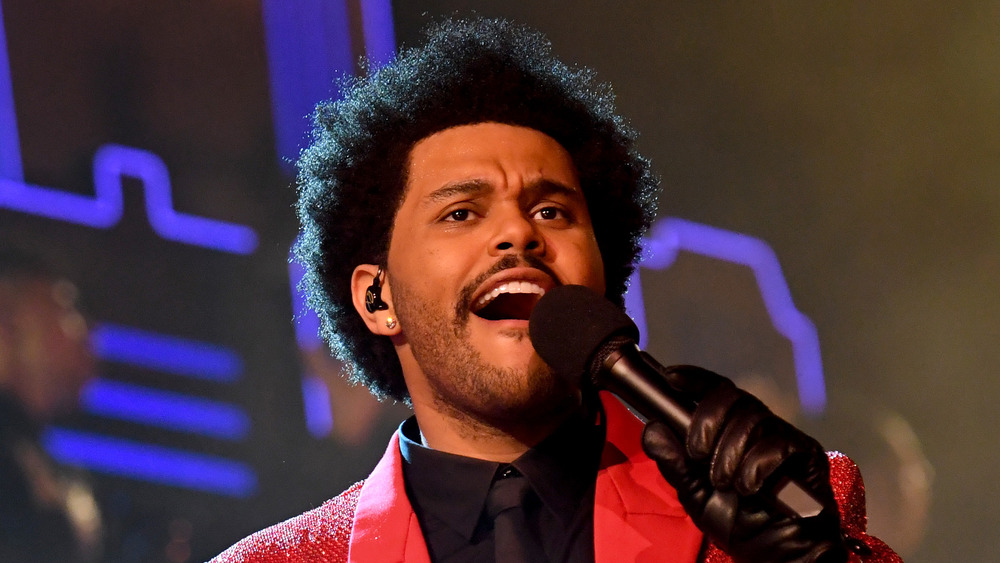 The Weeknd performing at the Super Bowl