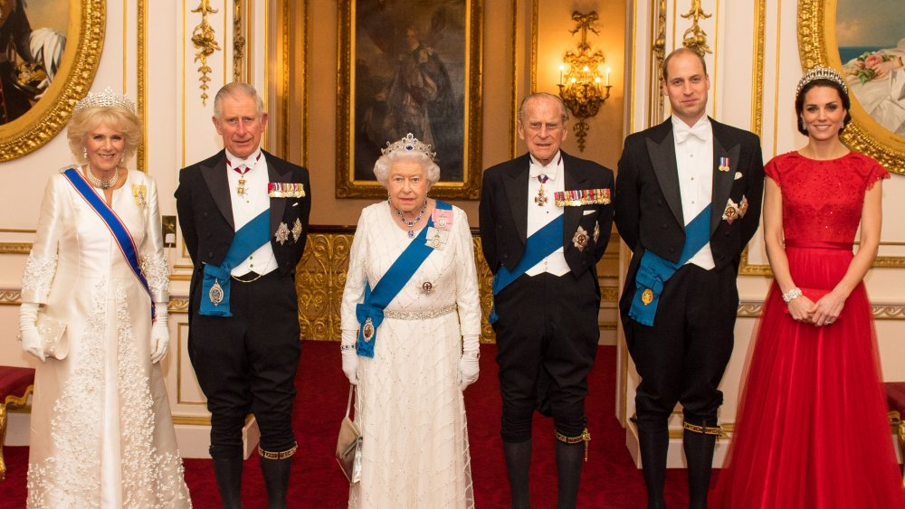 Members of the royal family, including Queen Elizabeth, Prince William, and Kate Middleton