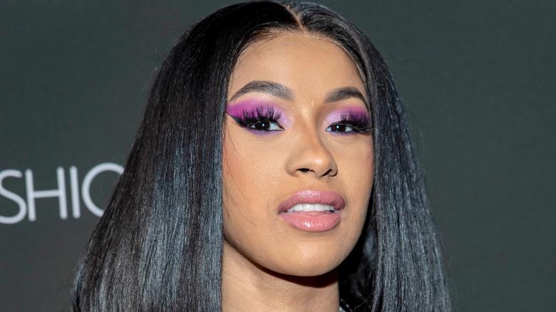 Cardi B lavender makeup