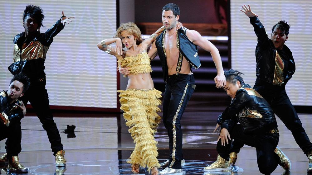 Karina Smirnoff and Maksim Chmerkovskiy perform at the Primetime Emmy Awards
