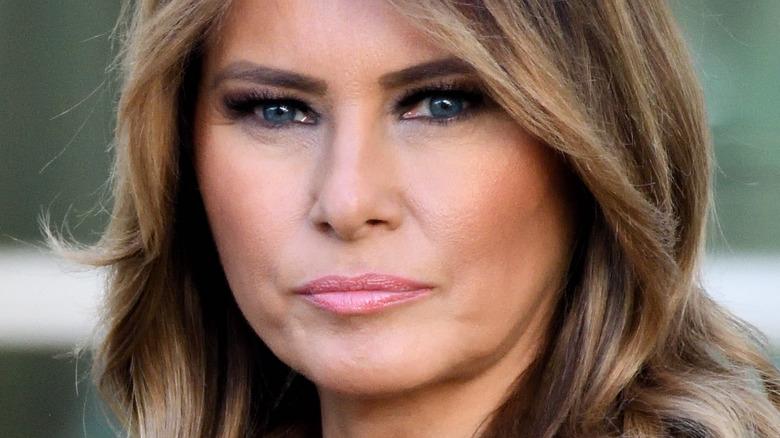 Melania Trump looking at camera with serious expression