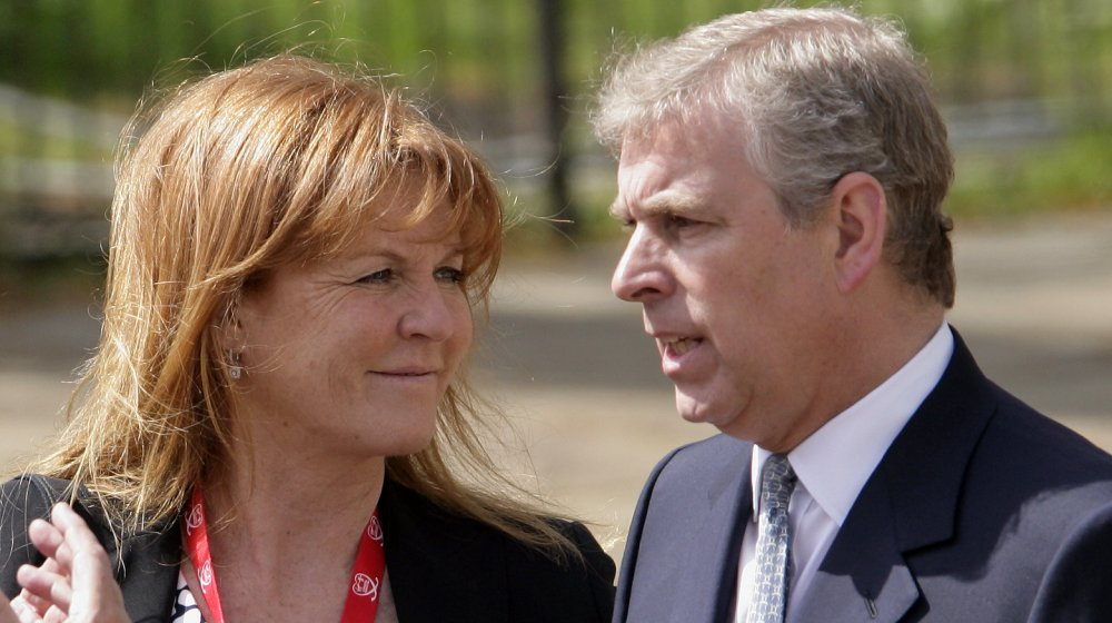 Sarah Ferguson, The Duchess of York talks with ex-husband HRH Prince Andrew, The Duke of York as they wait for daughter HRH Princess Beatrice of York to complete the Virgin London Marathon