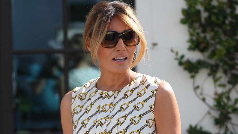 Melania Trump wearing sunglasses outside the White House