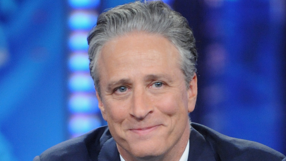 Jon Stewart with a serious expression