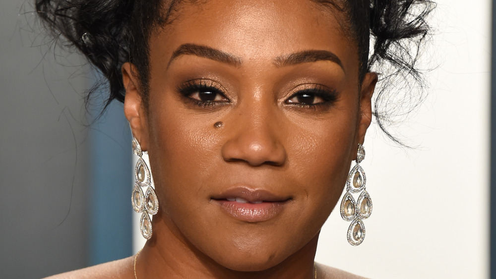 Tiffany Haddish with a serious expression