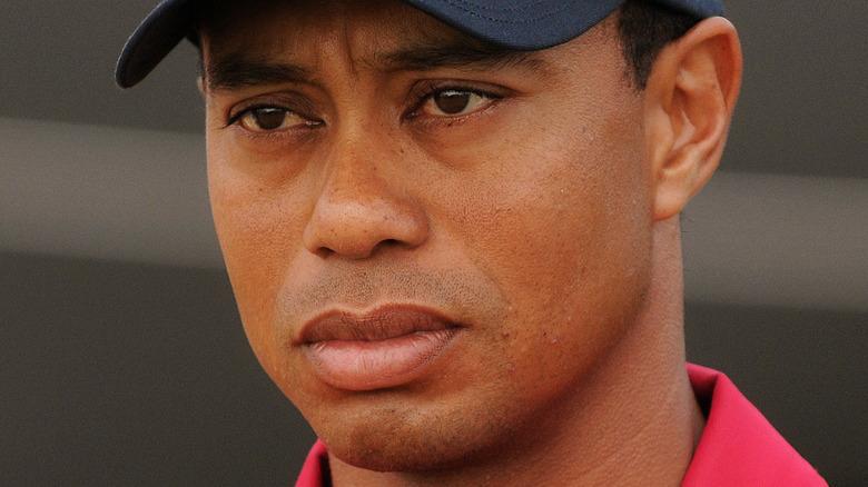 Tiger Woods looking upset