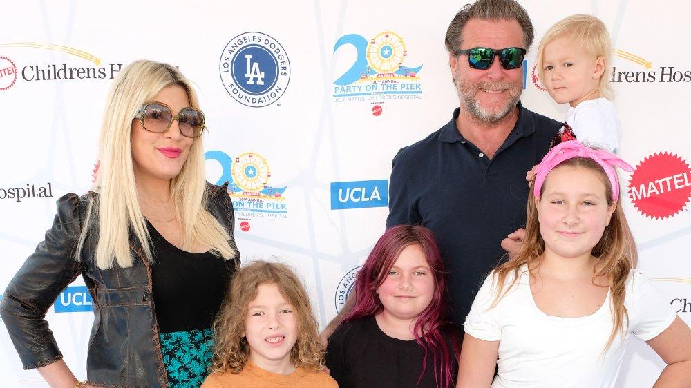 """(L-R) Tori Spelling, Finn Davey McDermott, Hattie Margaret McDermott, Dean McDermott, Stella Doreen McDermott and Beau Dean McDermott attend UCLA Mattel Children's Hospital's 20th Annual """"Party on the Pier"""""""