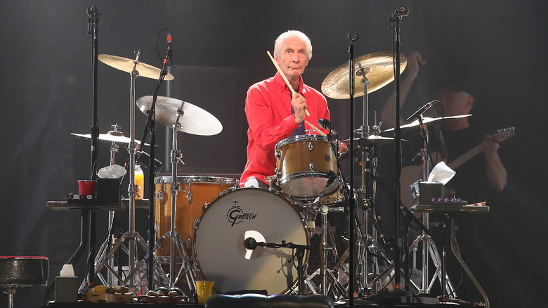 Charlie Watts playing drums in 2019