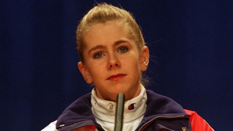 Tonya Harding looking glum at press conference