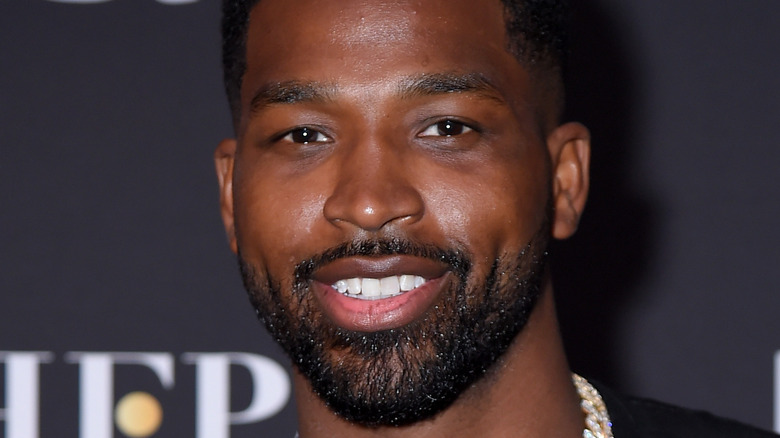 Tristan Thompson, looking upset, mouth open, sweating during 2020 basketball game