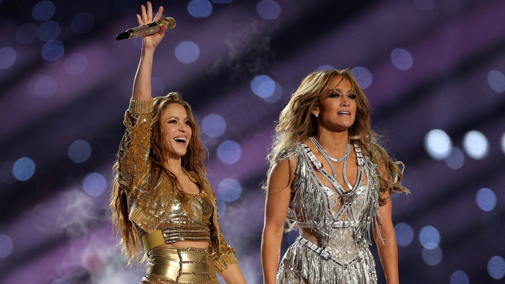 Shakira and Jennifer Lopez at the Super Bowl